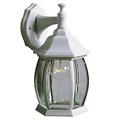 1-Light Outdoor Wall-Mounted Lantern in White with Clear Bevelled Glass