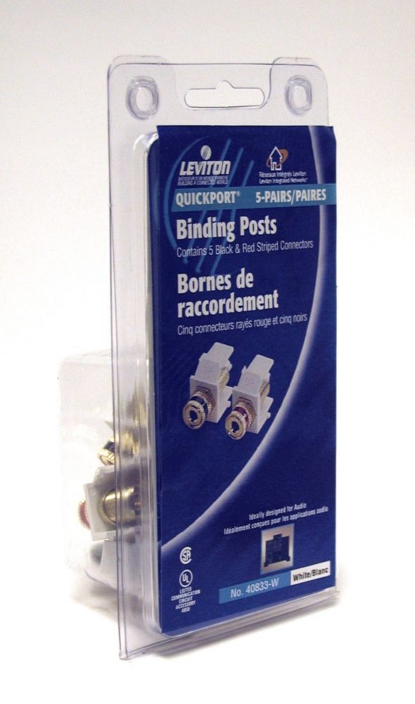 Leviton Snap-In Module, Binding Post Jacks, 5 pairs per Clamshell