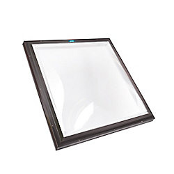 Columbia Skylights 2ft x 2ft Fixed Curb Mount Double Glazed Clear Acrylic Dome Skylight with Brown Frame