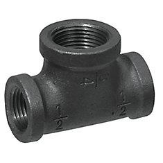 Fitting Black Iron Reducing Tee 1 Inch x 3/4 Inch x 3/4 Inch