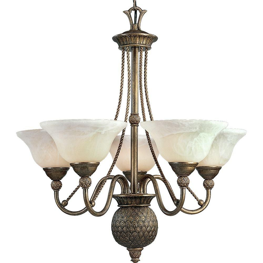 Savannah Collection Burnished Chestnut 5-light Chandelier