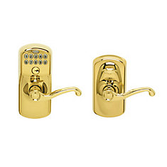 Plymouth Flair Bright Brass Keypad Lock Lever