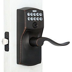 Keypad Lock Camelot/Accent Lever Aged Bronze