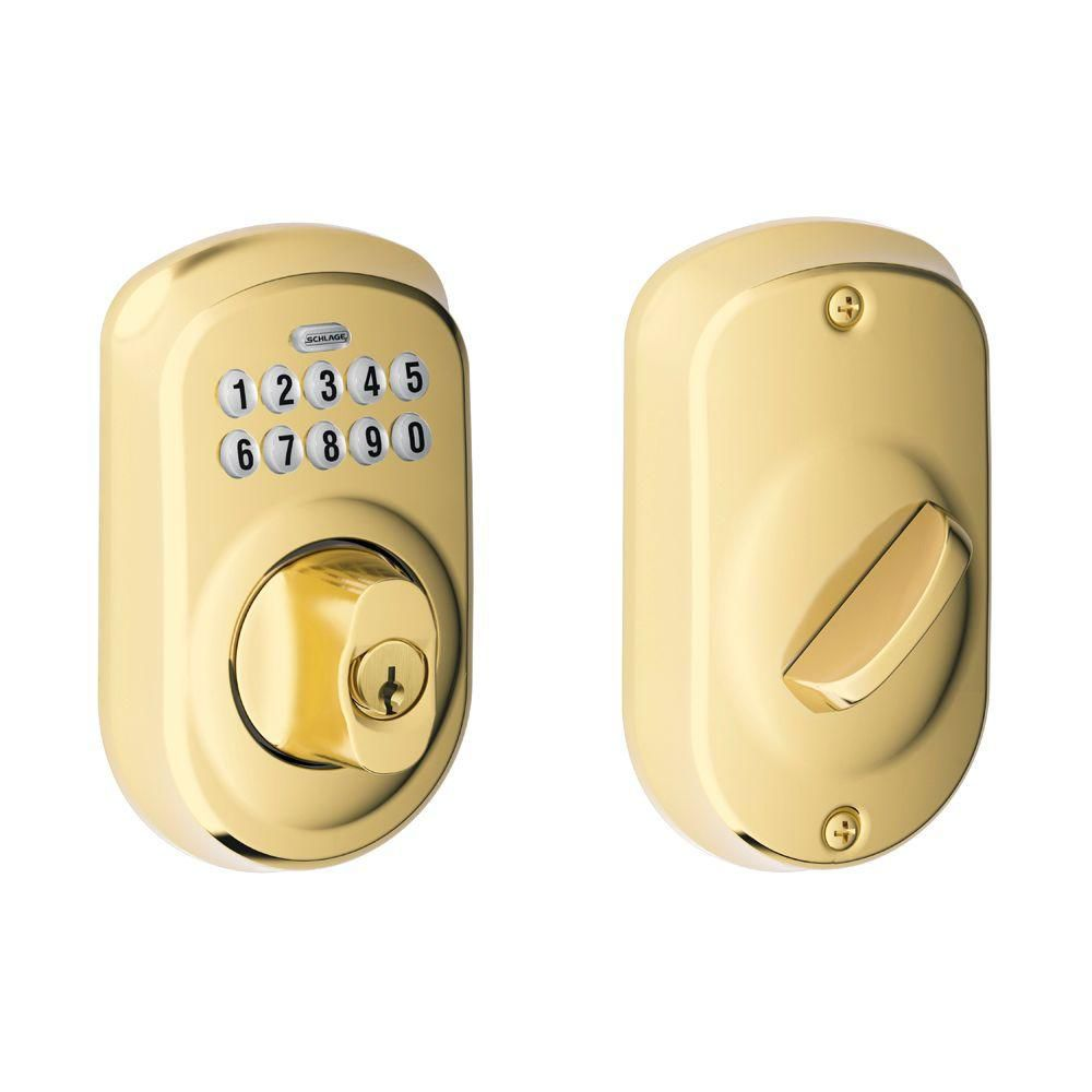 Plymouth Bright Brass Electronic Deadbolt