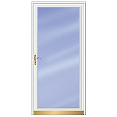 36-inch W 3000 Series Fullview White Screen Door with Brass Hardware