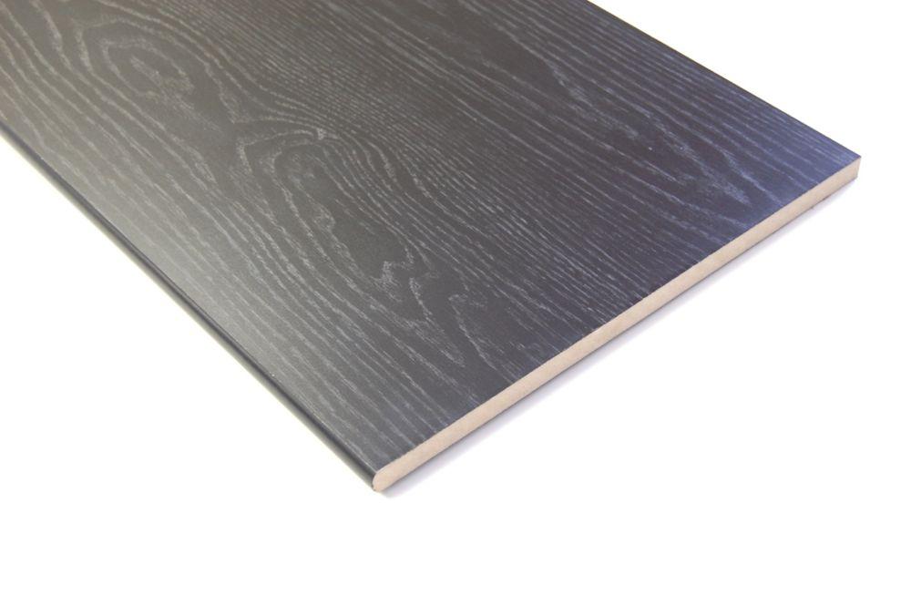Tablette noire en MDF à bord arrondi 5/8 po x 15-1/4 po x 96 po