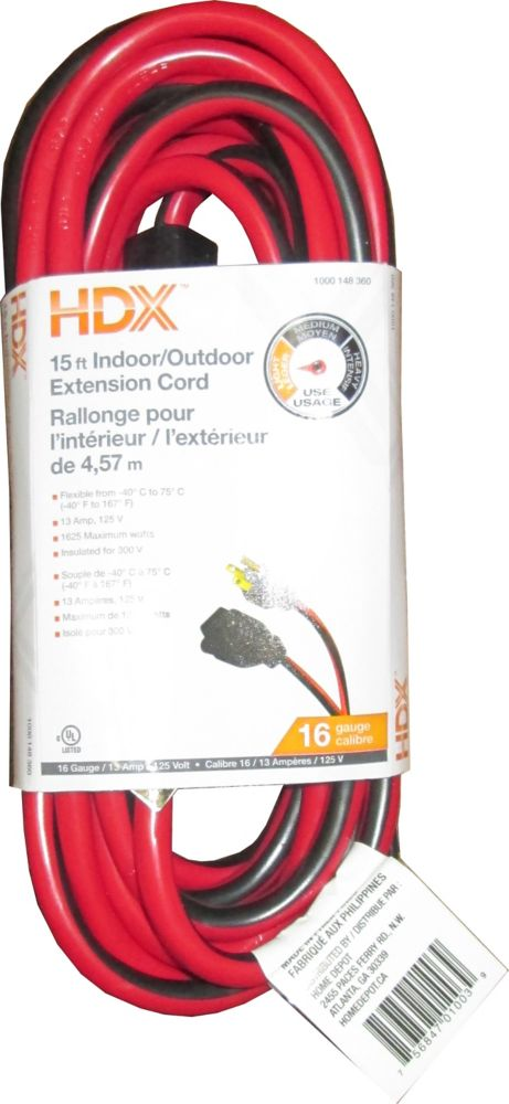 HDX 15 ft. 16/3 Indoor/Outdoor Grounded Extension Cord