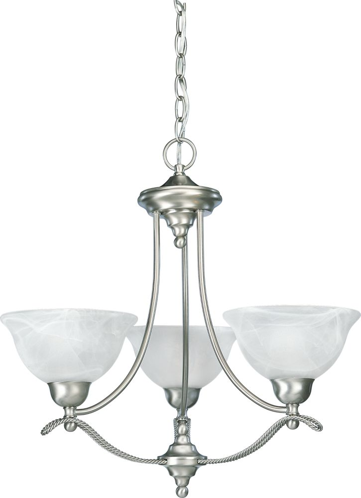Avalon Collection Brushed Nickel 3-light Chandelier