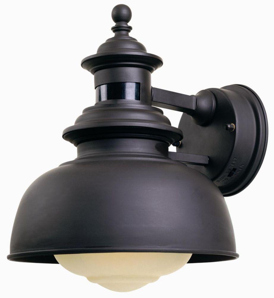 Hampton bay 1 light outdoor wall lantern with motion sensor bronze finish