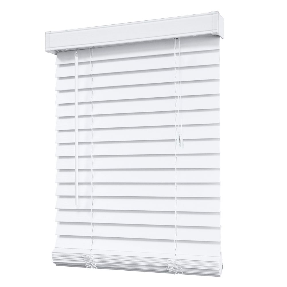 2 Inch Faux Wood Blind, White - 24 Inch x 48 Inch