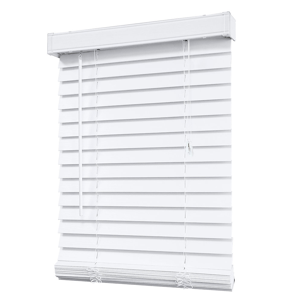 2-inch Faux Wood Blind in White - 72-inch x 48-inch