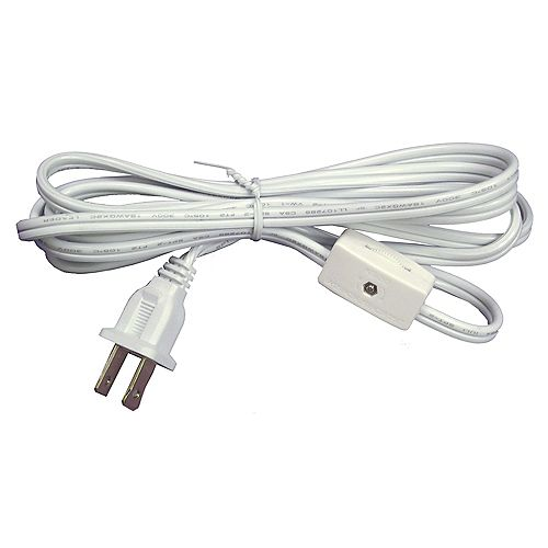 Atron White Lamp cord with Switch - 6 Feet