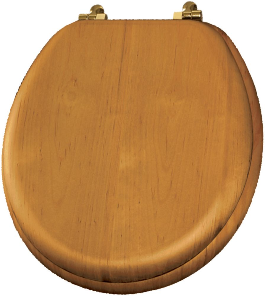 Round Natural Reflections Wood Veneer Toilet Seat with Brass Hinge in Natural Oak
