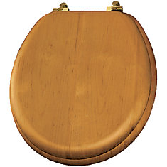 Natural Reflections Round Wood Veneer Toilet Seat with Brass Hinge in Natural Oak