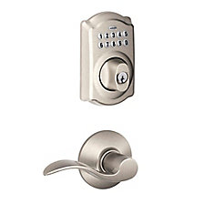 Camelot Satin Nickel Deadbolt Keyless Entry Keypad Door Lever Handleset