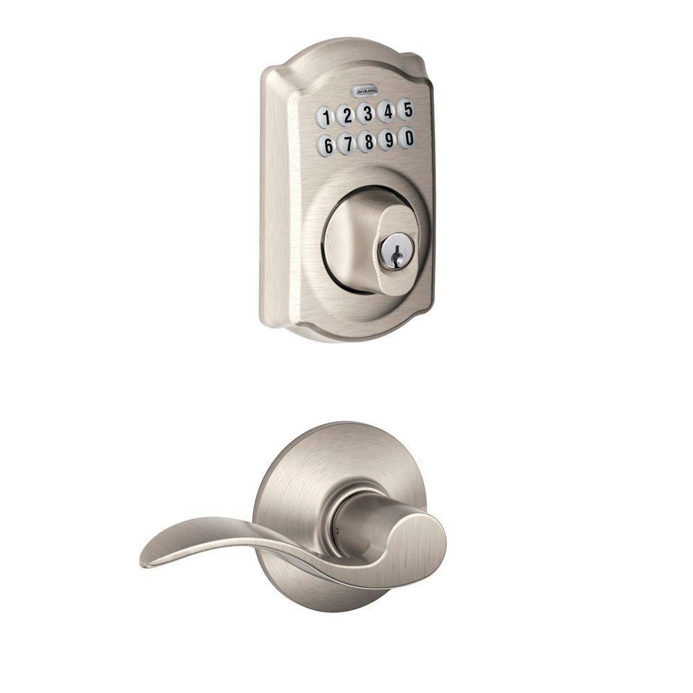 Schlage Camelot Satin Nickel Deadbolt Keyless Entry Keypad Door Lever Handleset