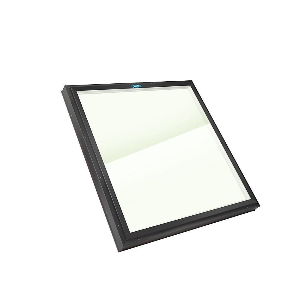 Puits de Lumière 2pi x 2pi Fixe, monté sur cadre verre transparent LoE3 trempée avec cadre noir