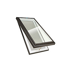 2 ft. x 4 ft. Venting Manual Curb Mount LoE3 Clear Glass Skylight with Black Frame