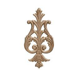 Ornamental Mouldings Arabesque en bois blanc, gaufré en acanthe suspendu 9-3/8 po X 4-5/8 po - 1 pièce par emballage