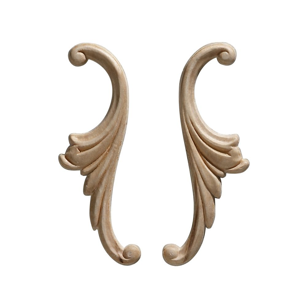 Embossed Acanthus Scroll Wood Ornament 1-3/4 x 5-1/4 - 1 Pair Per Card