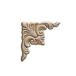 Ornamental Mouldings Embossed Acanthus Corner Wood Ornament 3-3/4 x 3-3/4 - 2-Piece