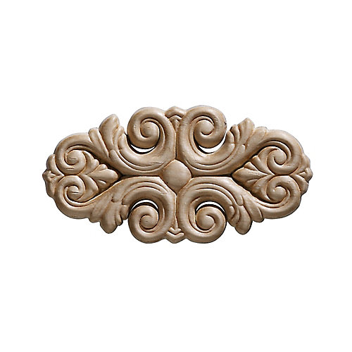 Embossed Acanthus Wood Ornament 5-1/2 X 2-3/4 - 2-Piece