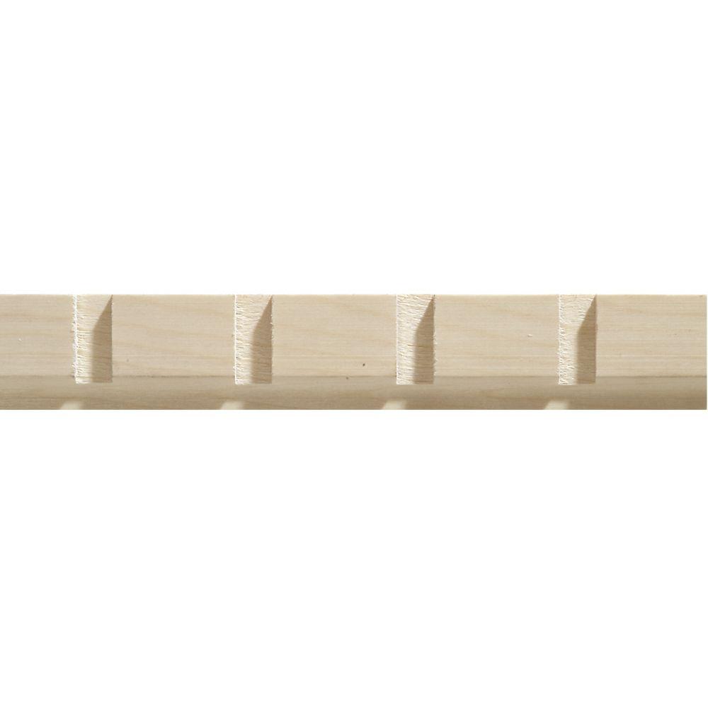 Moulure décorative en bois blanc dur, de denticule 11/32 po X 1-3/16 po - prix par pièce 8 pied
