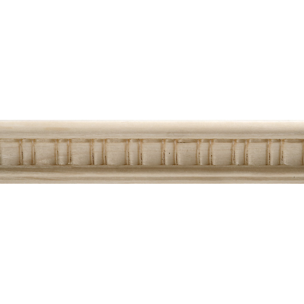 White Hardwood Embossed Scallop Trim Moulding 7/8 x 1-1/2 - Sold Per 8 Foot  Piece