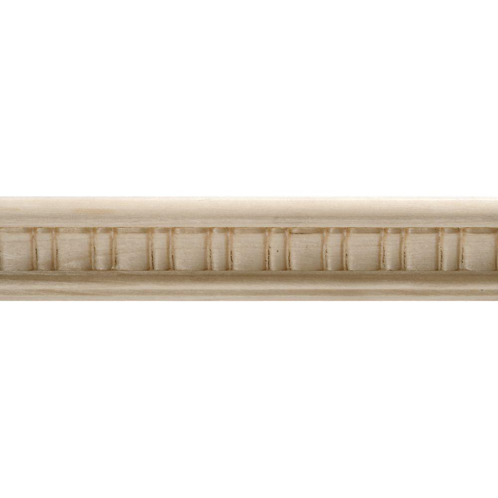 Moulure décorative en bois blanc dur, gaufrée en festons 7/8 po X 1-1/2 po - prix par pièce 8 pie...