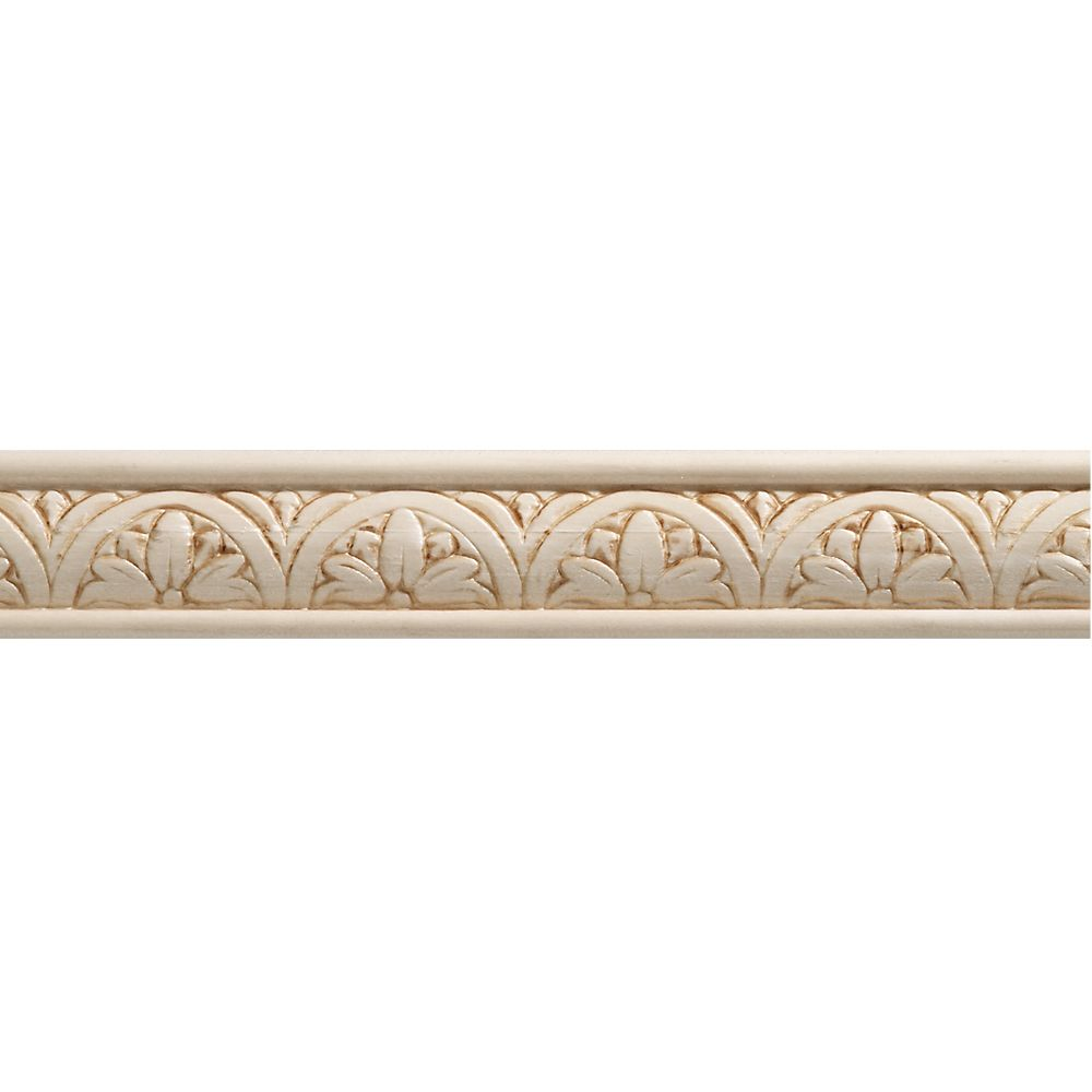 Ornamental Mouldings White Hardwood Embossed Blossom Trim Moulding 5 16 X 1 1