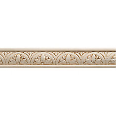 White Hardwood Embossed Blossom Trim Moulding 5/16 x 1-1/4 - Sold Per 8 Foot Piece