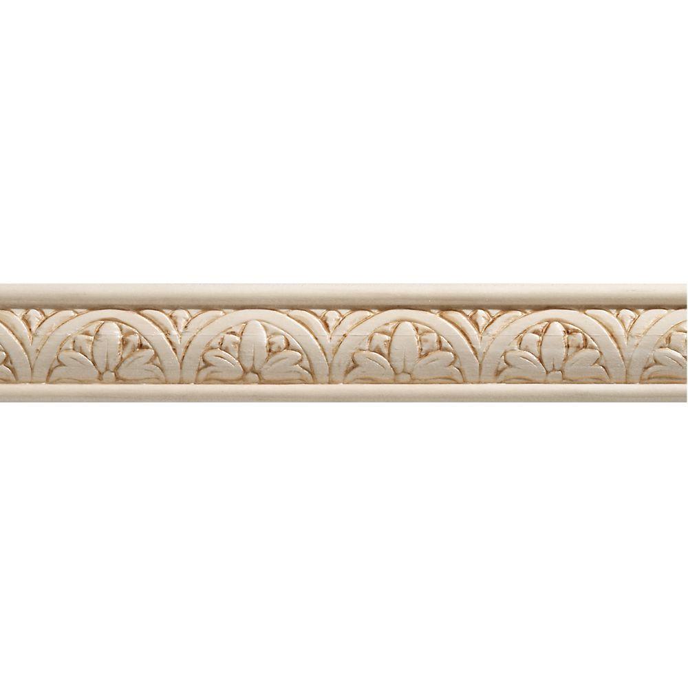 Moulure décorative en bois blanc dur, gaufrée en fleurs 5/16 po X 1-1/4 po - prix par pièce 8 pie...