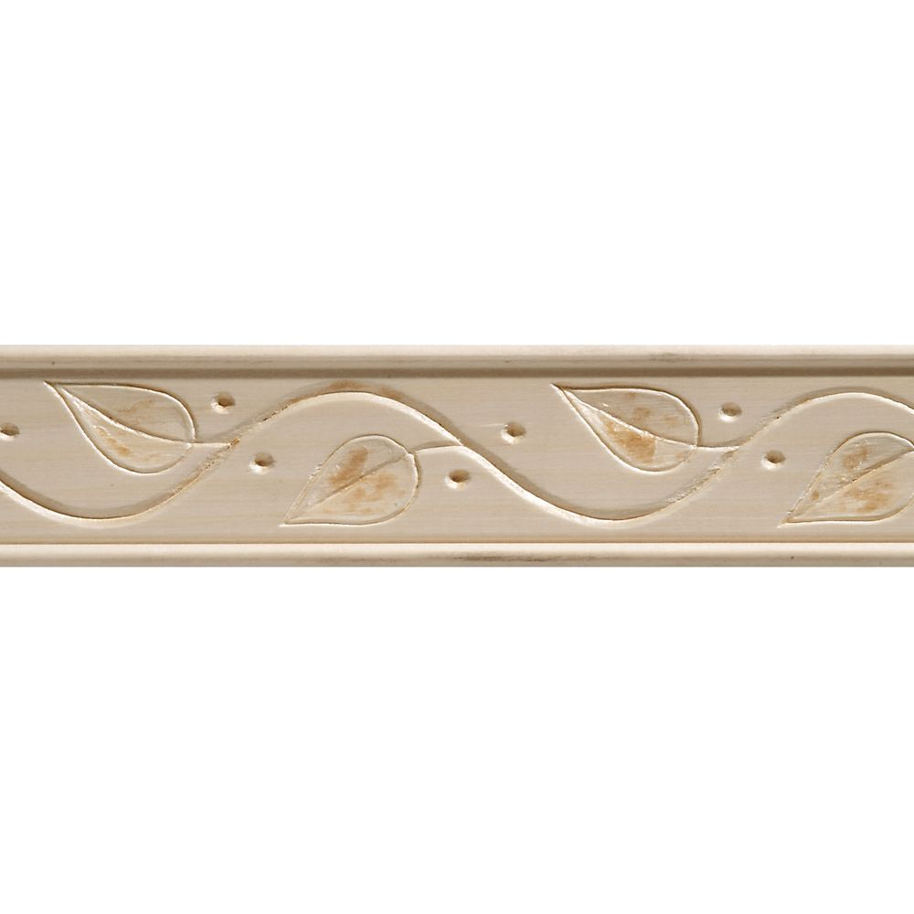 White Hardwood Embossed Ivy Trim Moulding 11/32 x 1-3/4 - Sold Per 8 Foot Piece