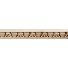 White Hardwood Embossed Egg & Dart Trim Moulding 9/16 x 1 - Sold Per 8 Foot Piece