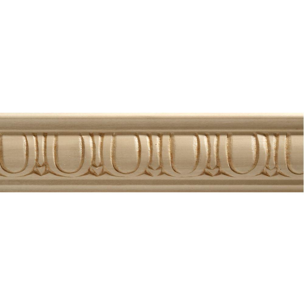 Moulure décorative panneau en bois blanc dur, gaufrée en oeuf et fléchette 7/8 X 1-1/8 - prix par...