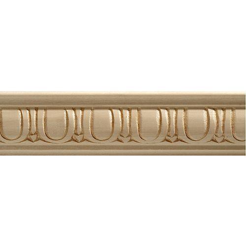 Ornamental Mouldings Moulure décorative panneau en bois blanc dur, gaufrée en oeuf et fléchette 7/8 X 1-1/8 - prix par pièce 8 pied