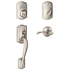 Camelot Satin Nickel Deadbolt Keyless Entry Keypad Door Handle Set
