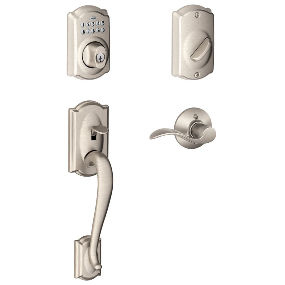 Satin Nickel Electronic Door Handle Set with Accent Lever