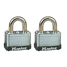1-1/2 inch Wide Laminated Steel Warded Padlock - 2 Pack