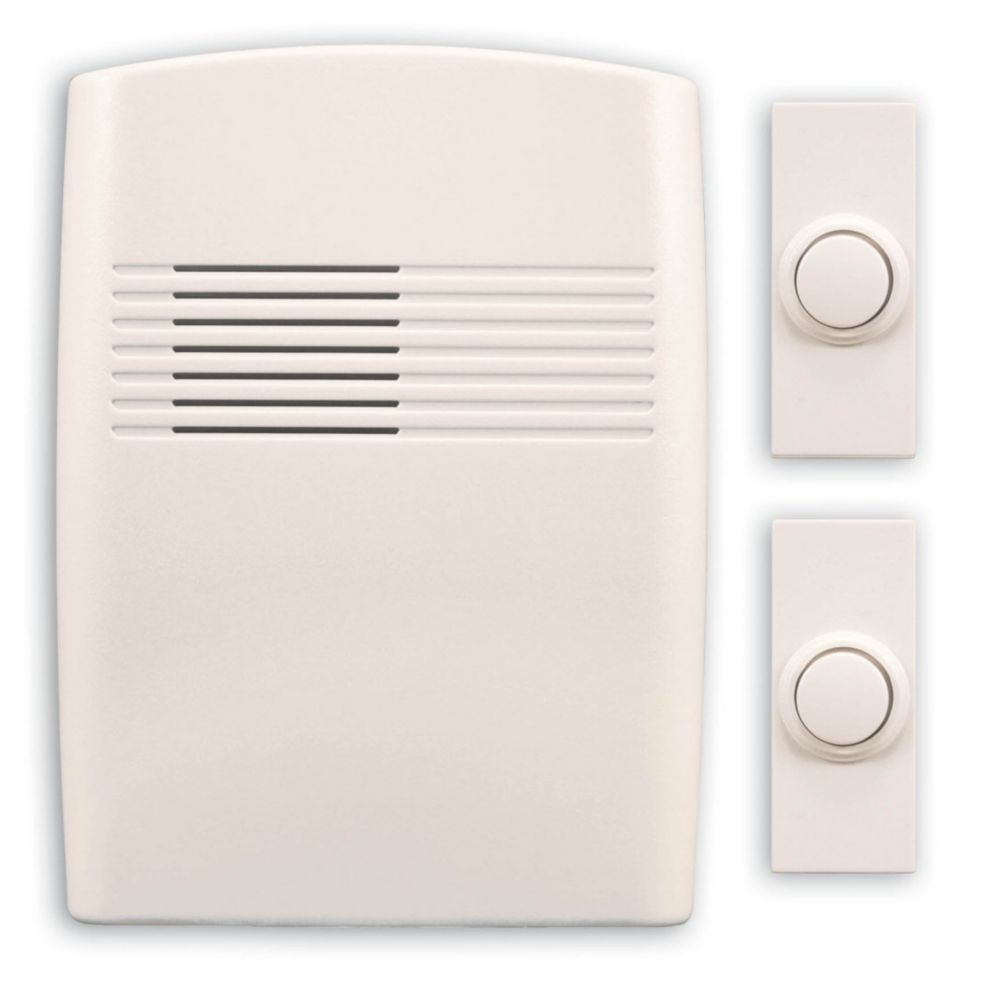 Wireless Battery Operated Off-White Door Chime Kit With 2 Push Buttons