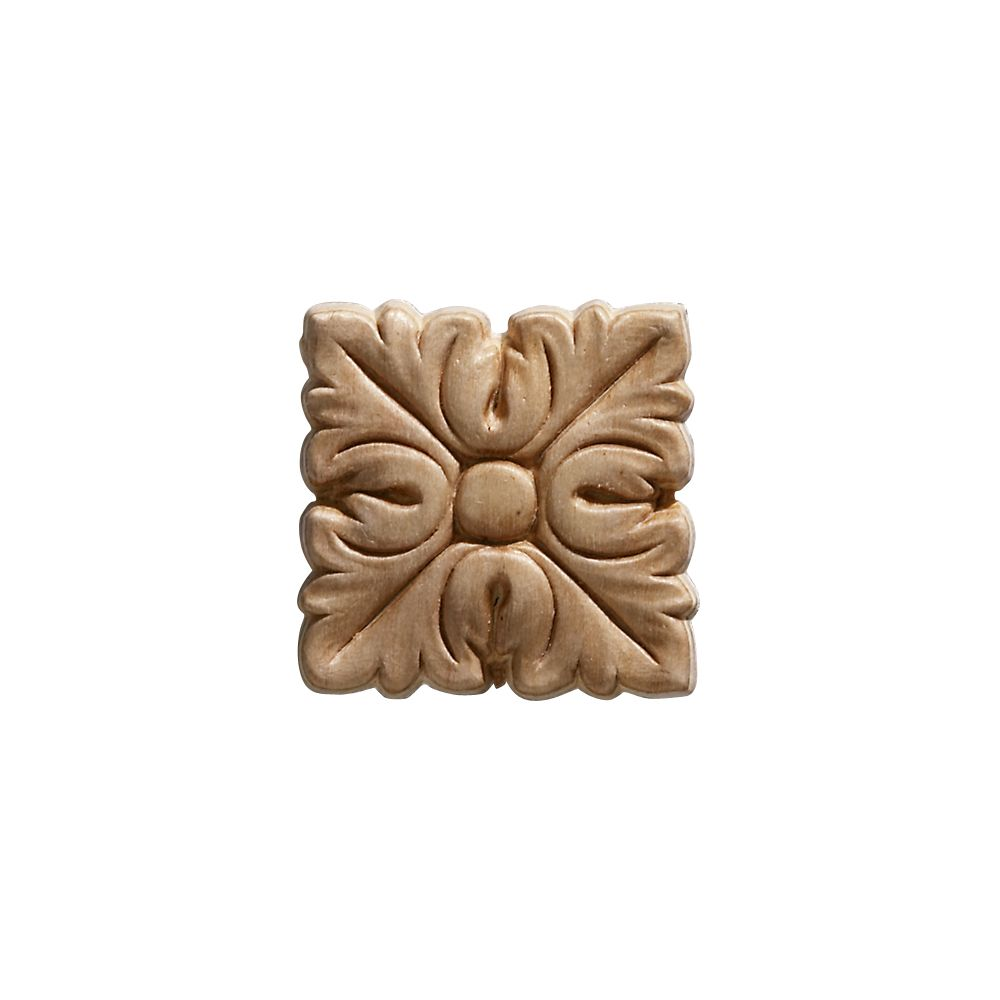 Embossed Square Acanthus Wood Ornament 2 x 2 - 4 Pieces Per Card