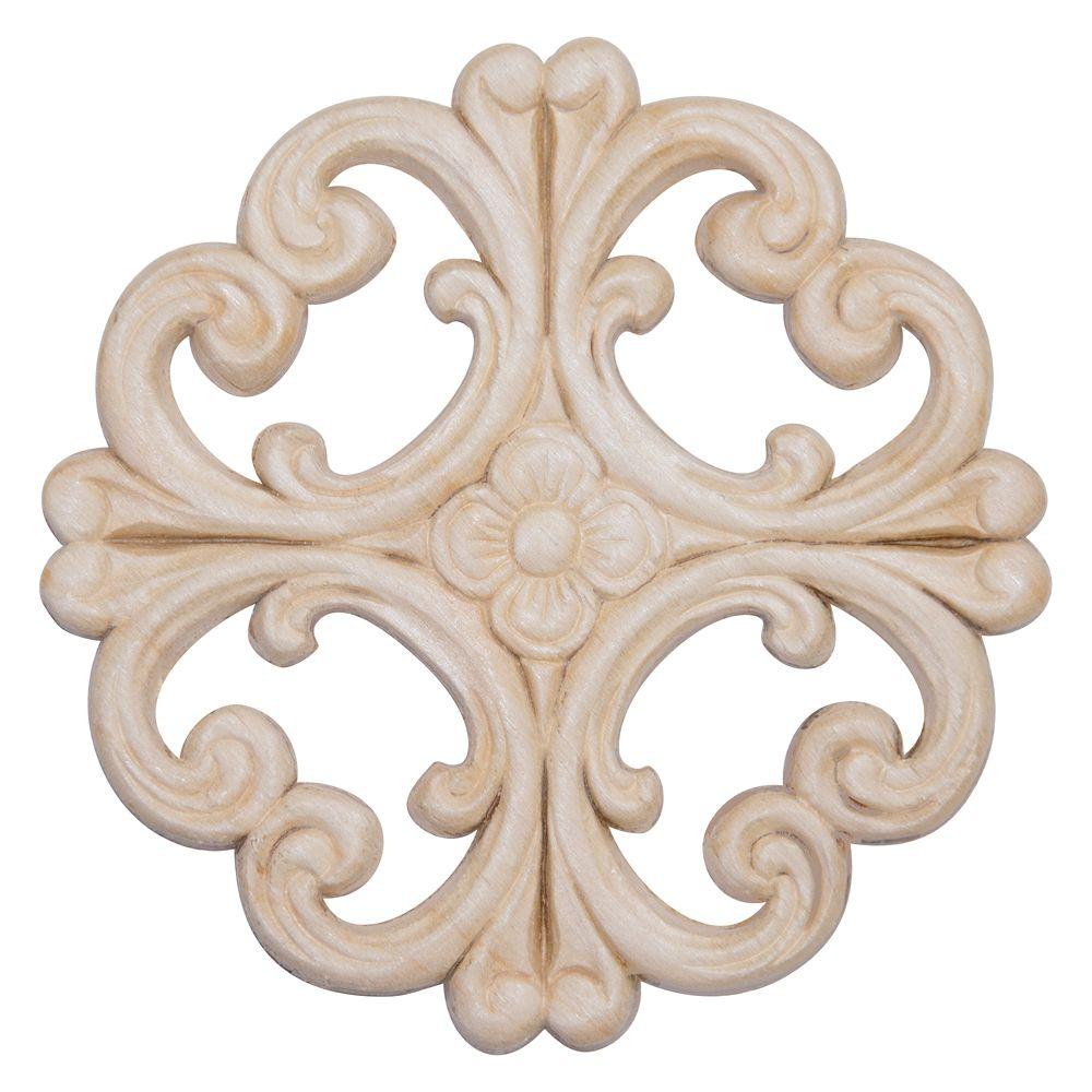 Rosace ornementale victorienne en bois dur blanc - 6 x 6 po
