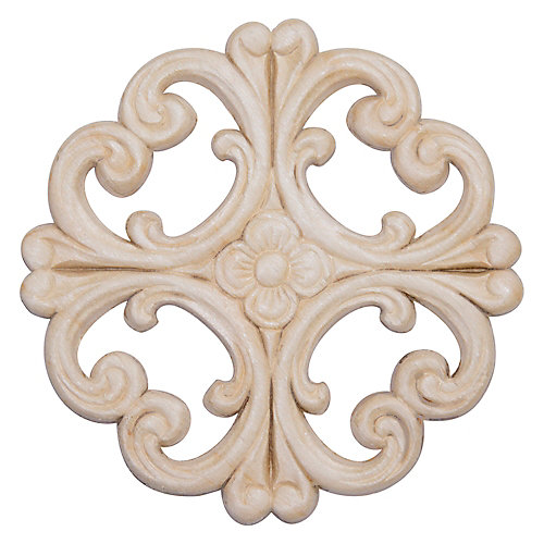 White Hardwood Victorian Rosette Ornament - 6 x 6 inch