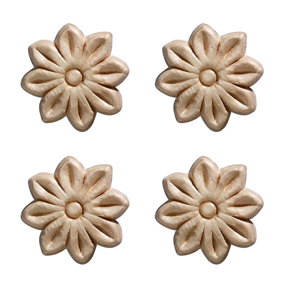 Ornamental Mouldings Embossed Small Tudor Rose 1-1/2 X 1-1/2 - 4 Pc Per Card