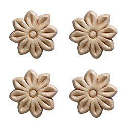 Ornamental Mouldings Embossed Small Tudor Rose 1-1/2 X 1-1/2 - 4-Piece