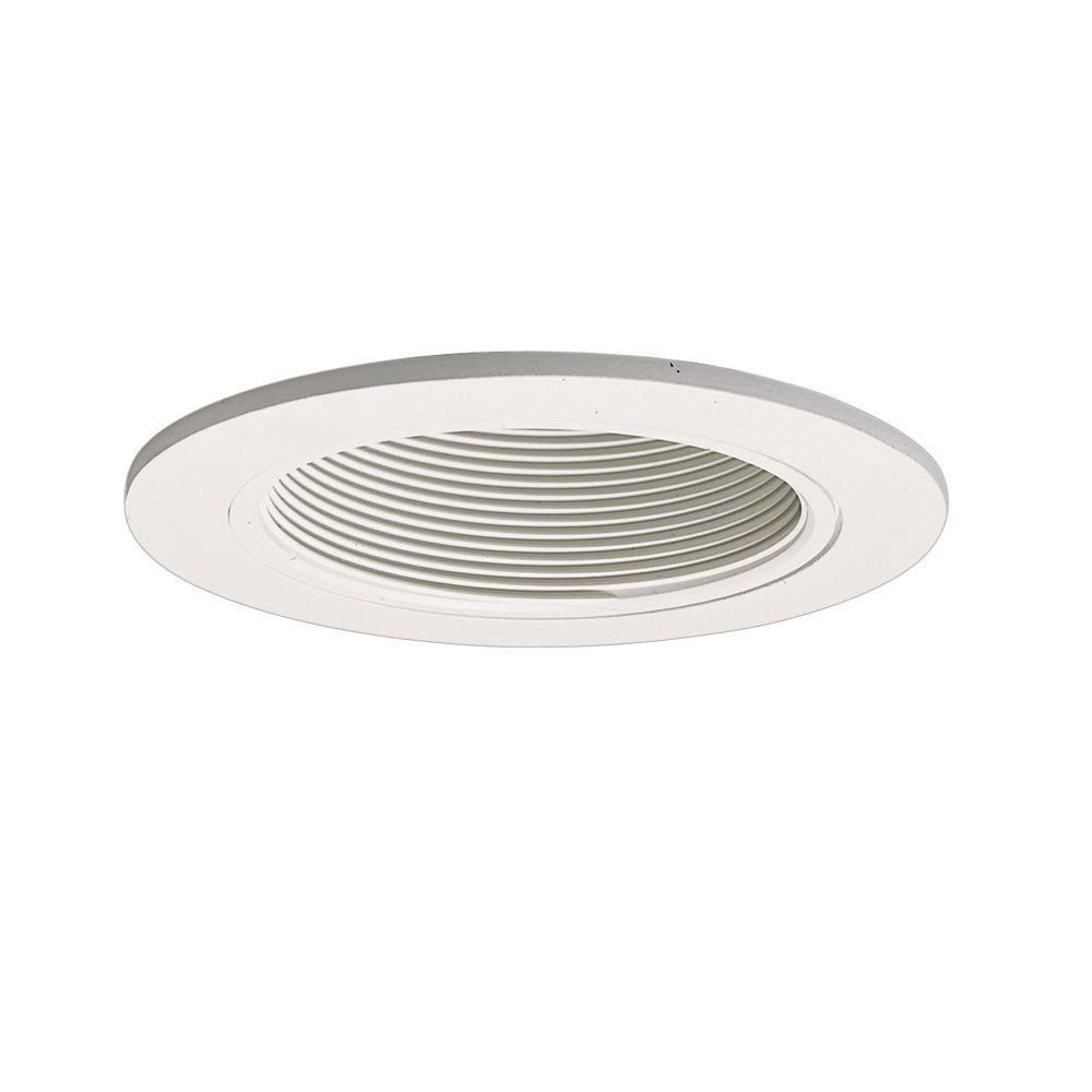 White Baffle with Satin White Trim Ring-4 Inch Aperture