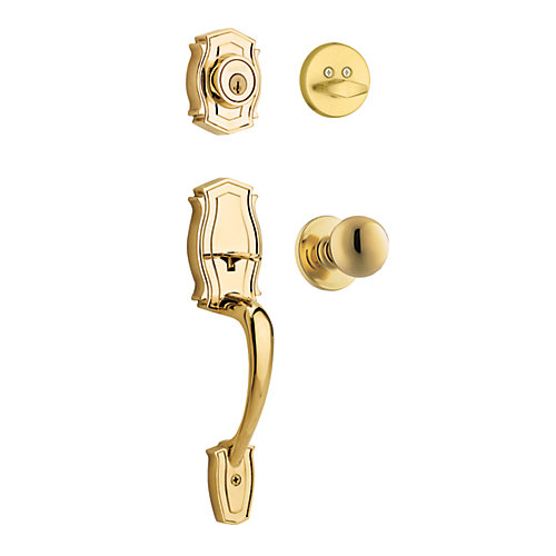 Heritage Brass Handle Set with Huntington Interior Knob