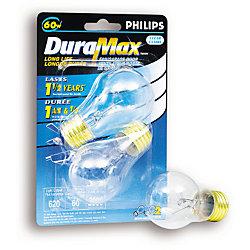 Duramax Lampe pour ventilateur/porte de garage, claire, culot moyen, A15 60 W, 2/emballage