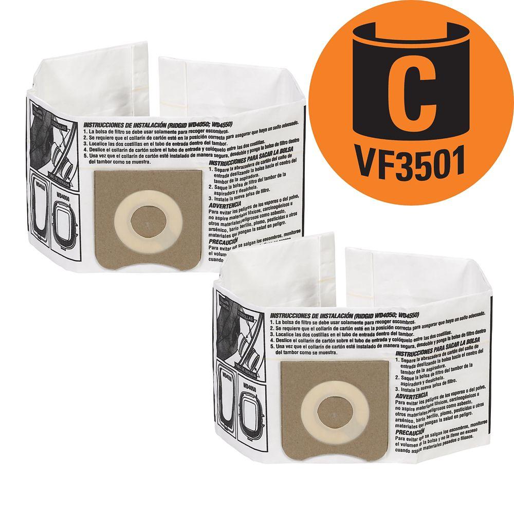 Sacs à poussière VF3501 Type C pour les aspirateurs de 11 à 17 l (3 à 4,5 gal.), 2/paq.