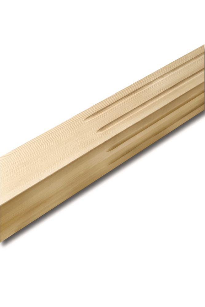 Pilastre carré cannelé, pruche 3 x 3